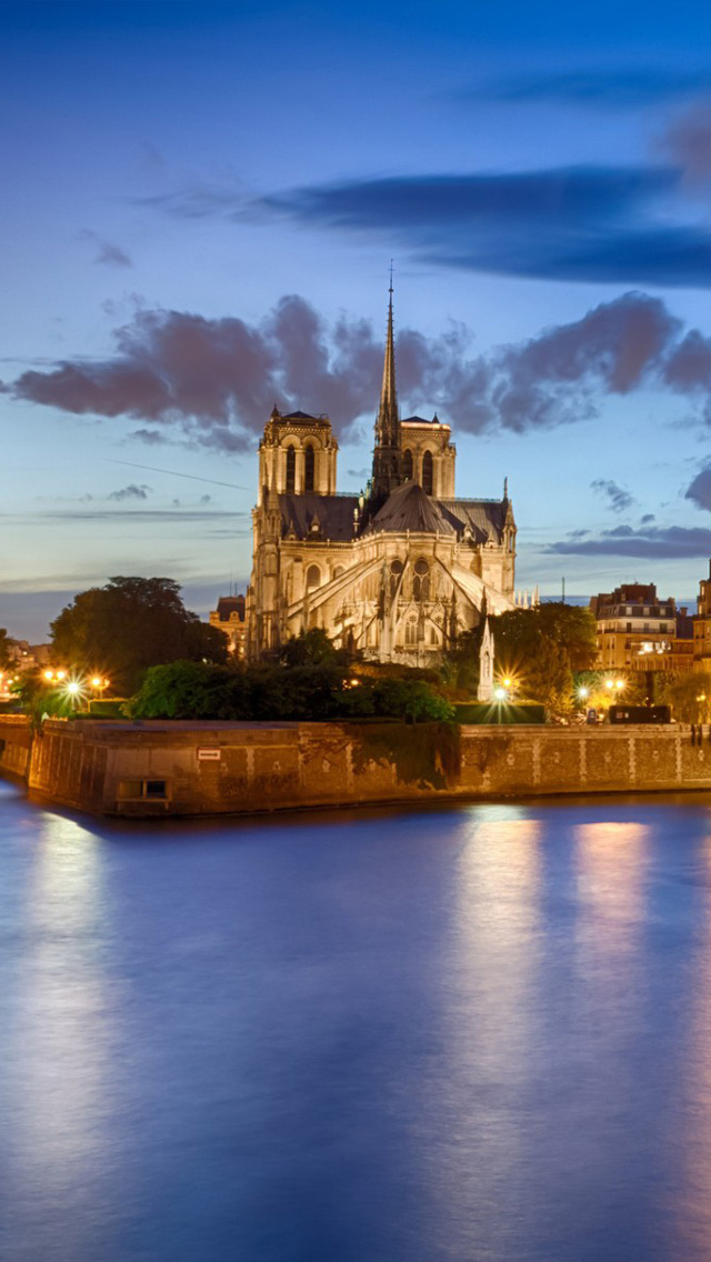 iPhone 5 wallpapers HD   Notre Dame scenery Backgrounds 640x1136
