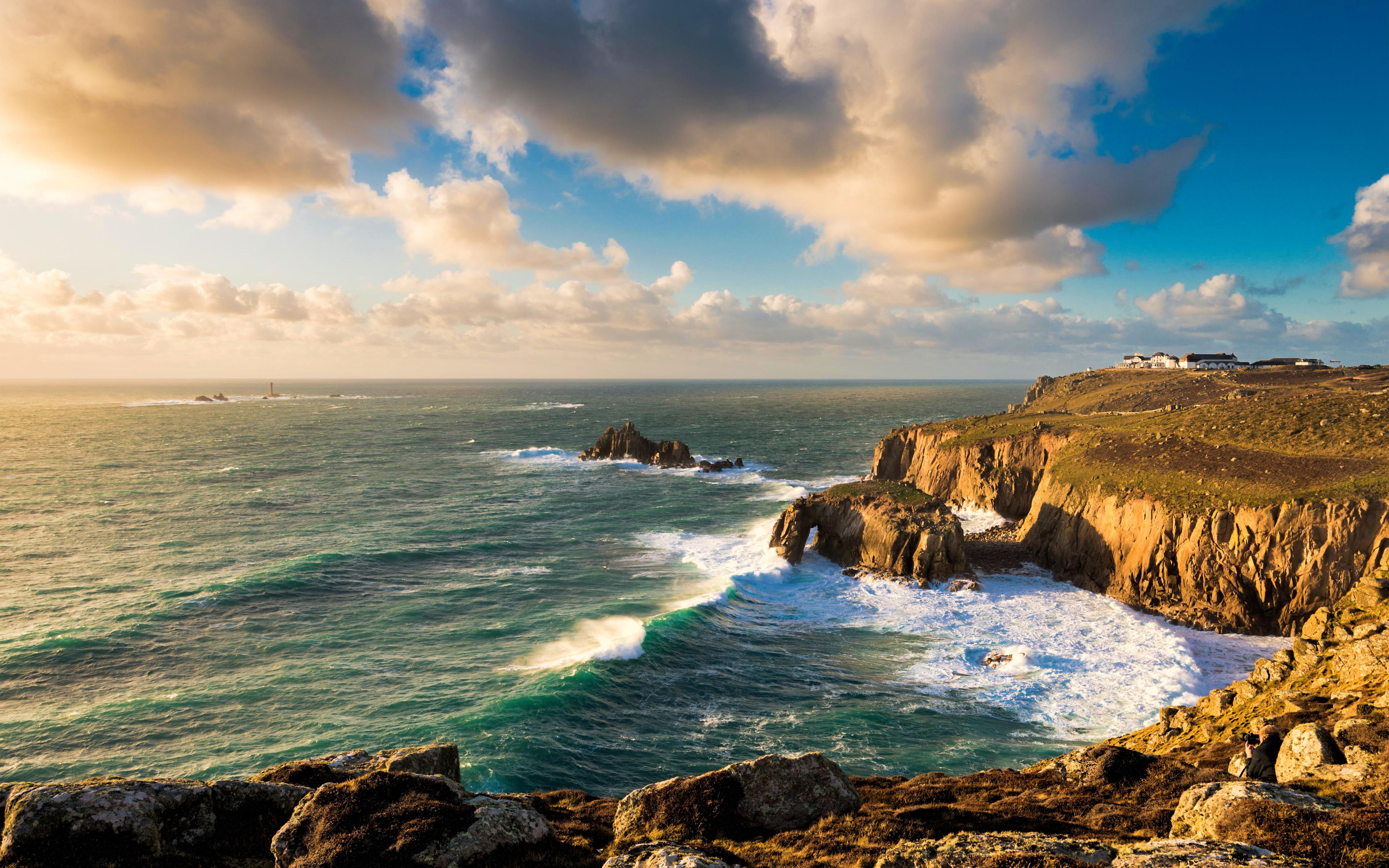 Lands End Cornwall England widescreen wallpaper Wide 3838x2400