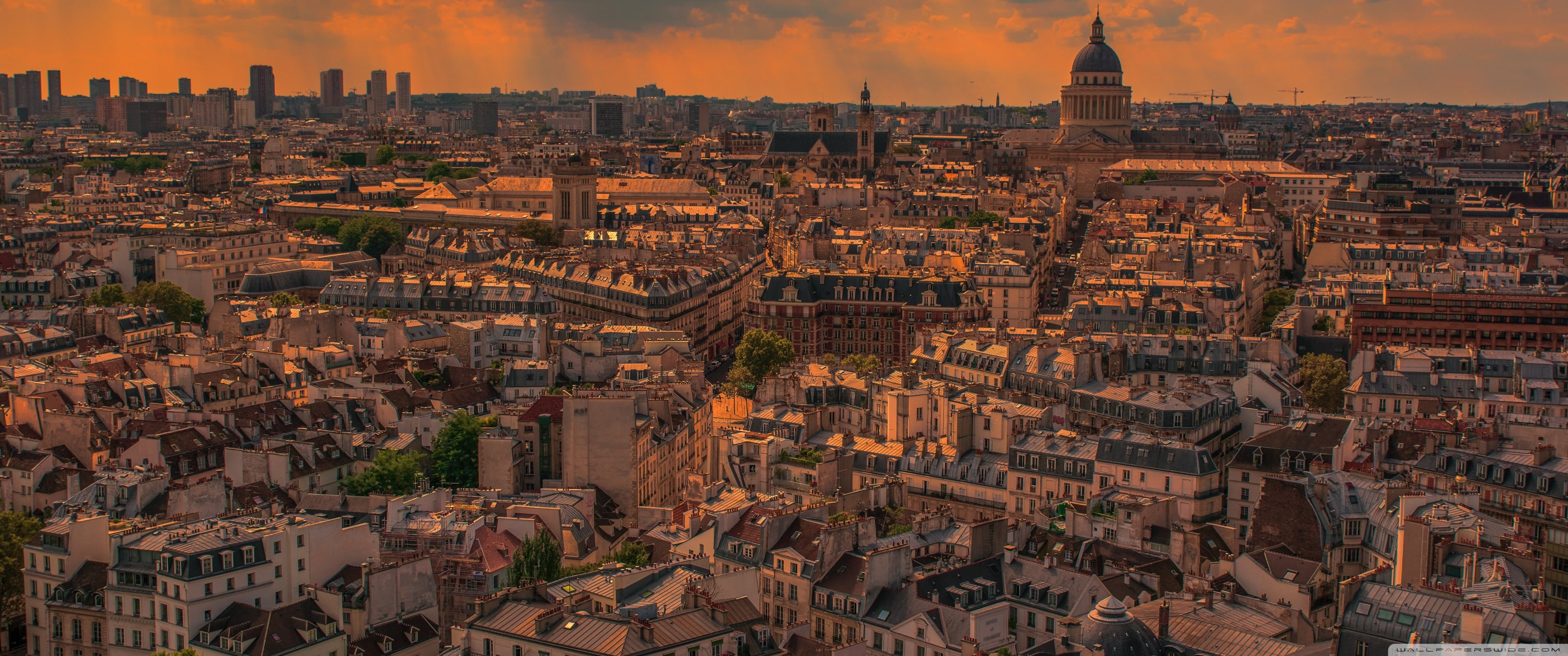 Paris Panorama Sunset 4K HD Desktop Wallpaper for 4K Ultra HD 3440x1440
