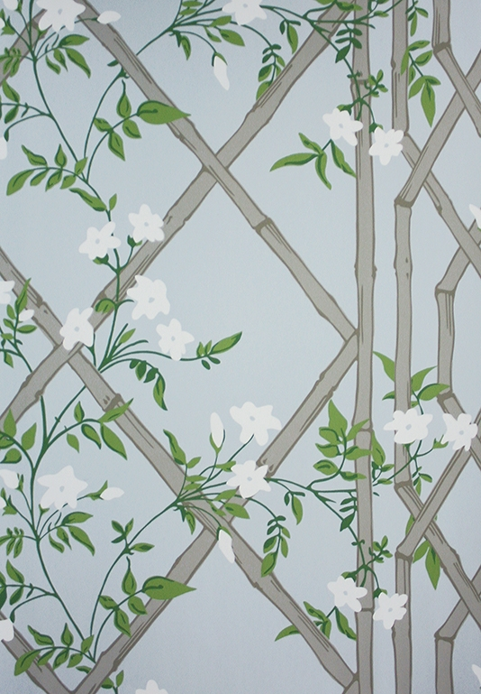 Jasmine Lattice Wallpaper A decorative wallpaper featuring a floral 534x769
