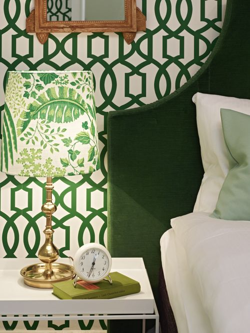 green velvet headboard Kelly Wearstler Imperial Trellis wallpaper 500x667