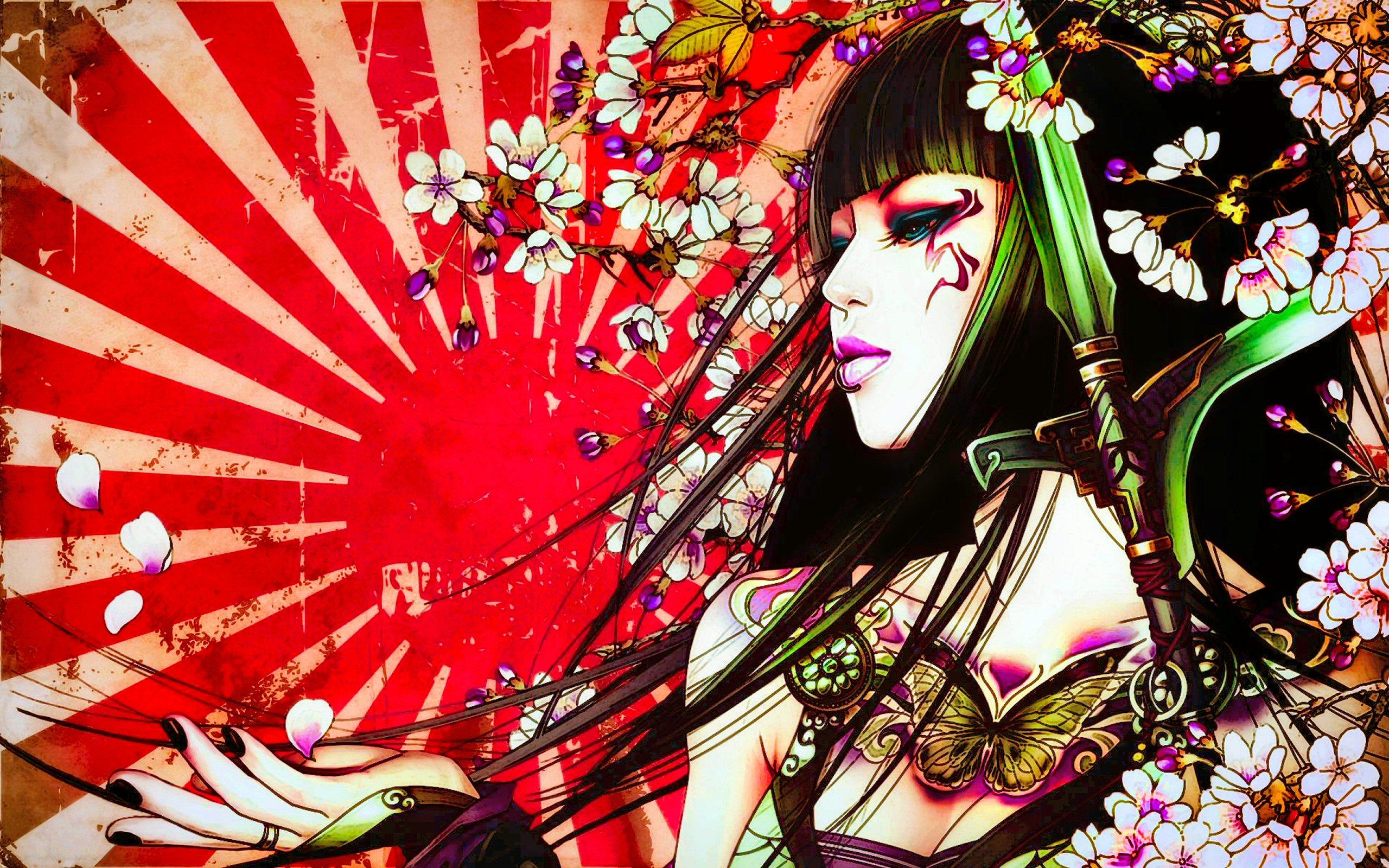 Fantasy Geisha Tattoo Petal Japan Sun Fantasy Asian Artistic Oriental 2560x1600
