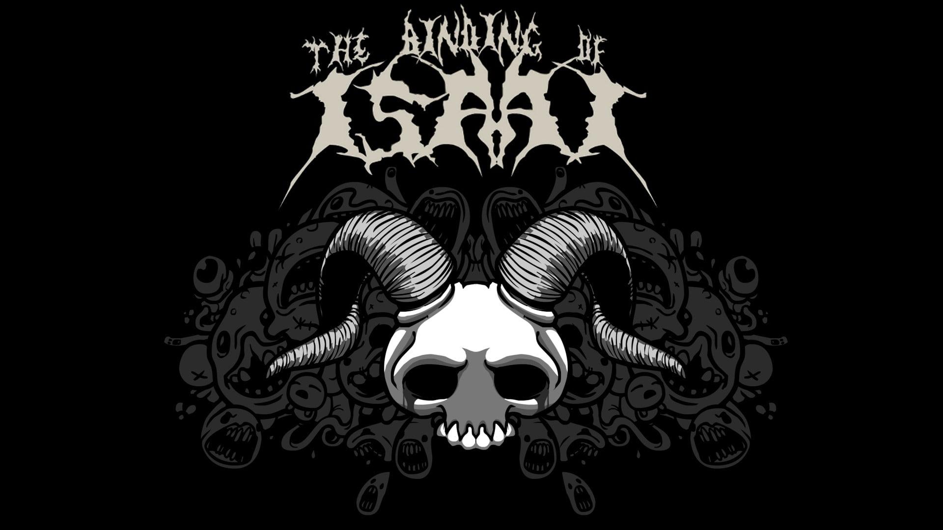 Black and white skull illustration Binding of Isaac horns video 1920x1080