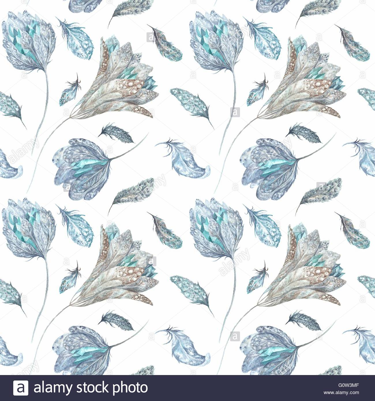 Seamless texture with feathers flowers and crystals isolated on 1300x1390