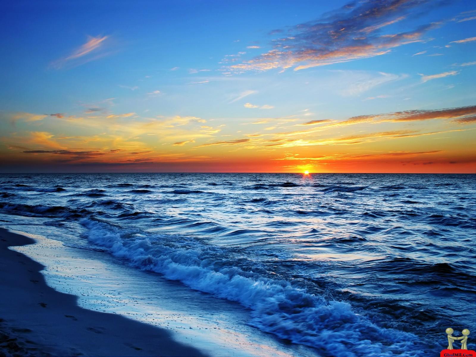 Beautiful Sunset Ocean HD Desktops laptops Computers Background 1600x1200