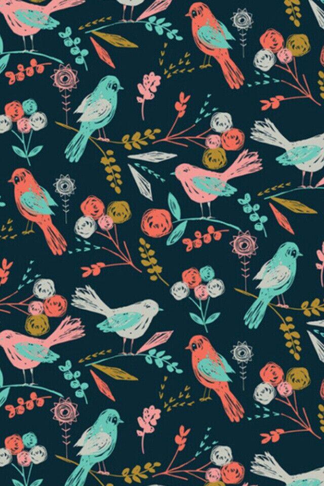 Vintage birds wallpaper Designs wallpapers skins Pinterest 640x960