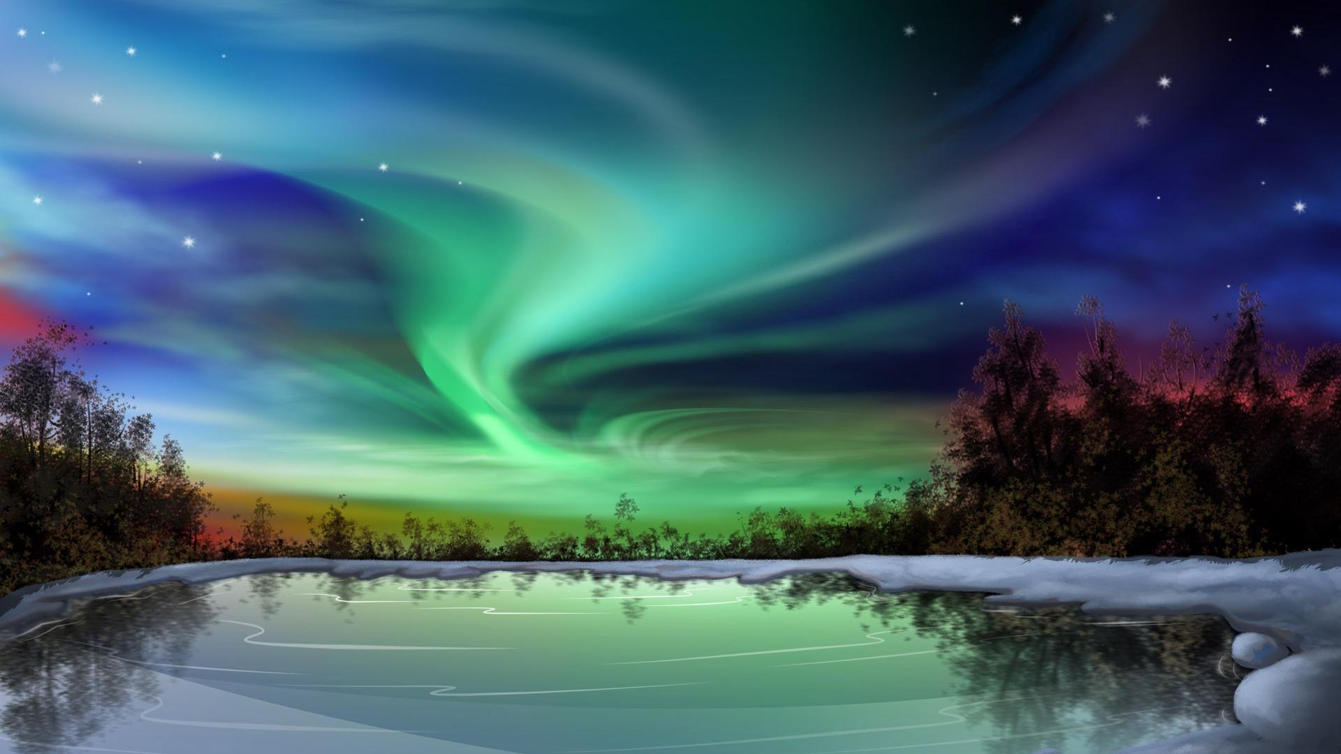 Colorful Northern Lights . Available in 1920×1080 .