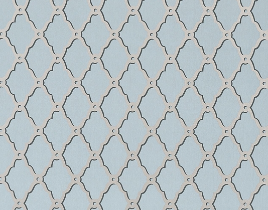 wallpaper with a trellis design in metallic gilver on slate grey 534x419