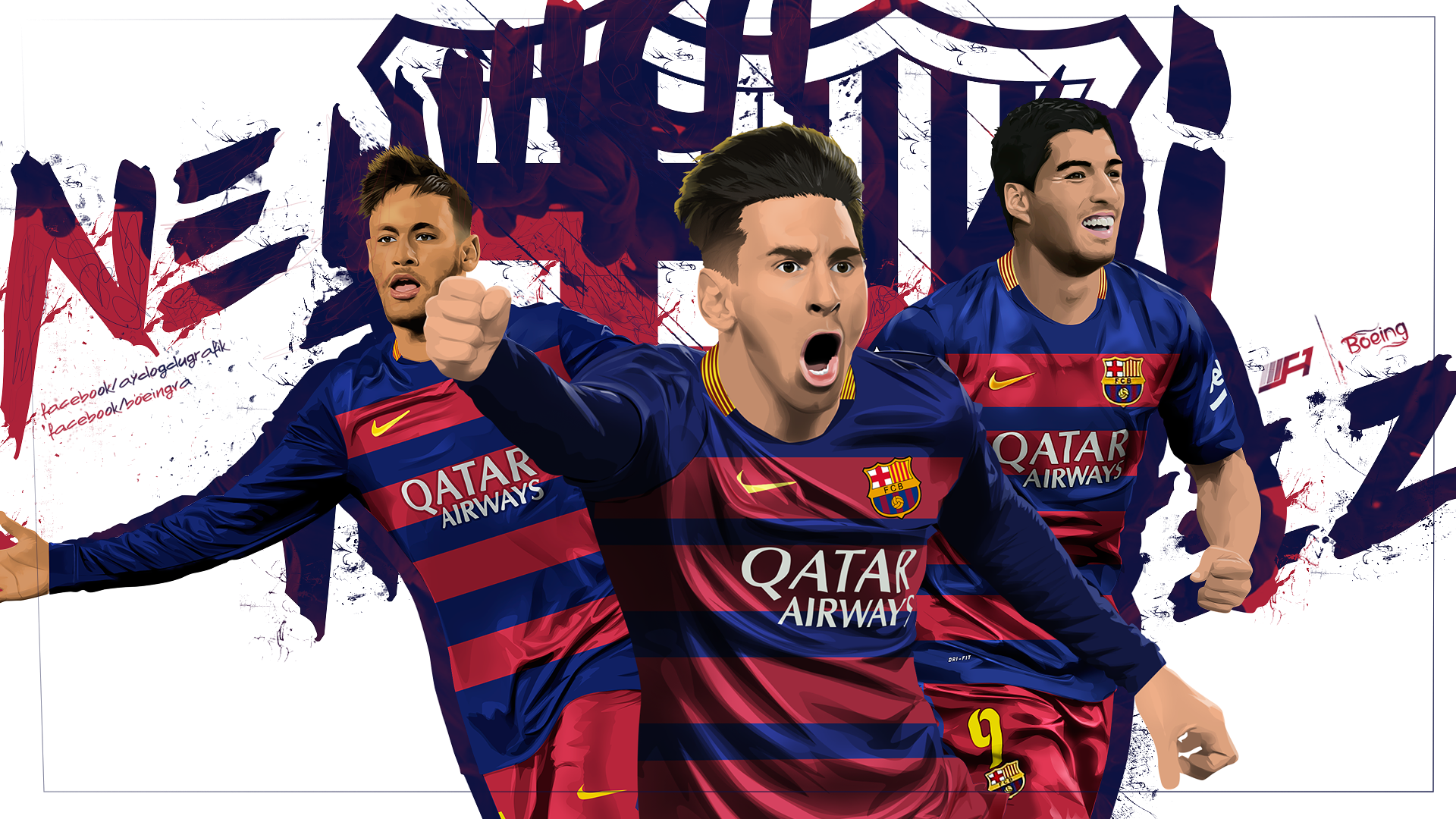 Neymar Messi Suarez Poster images 1920x1080