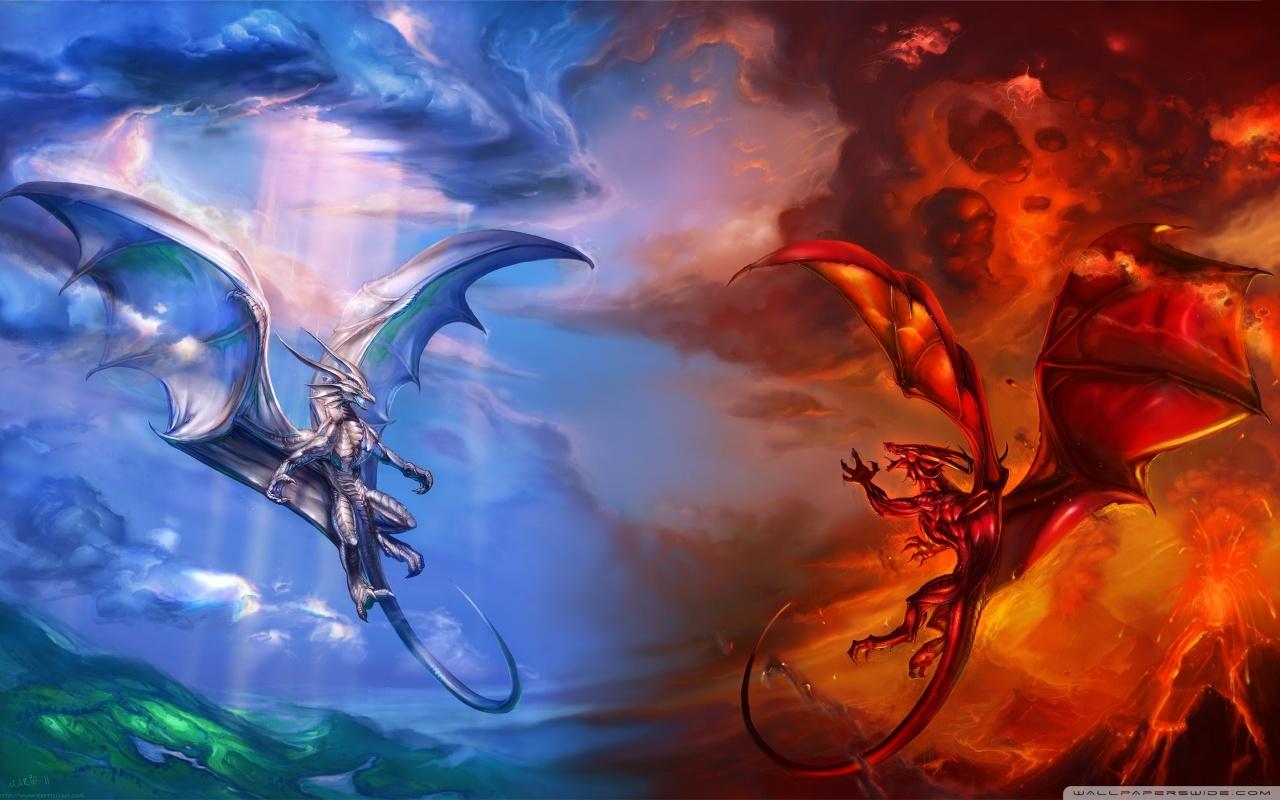 ice dragon vs fire dragon wallpaper 1280x800jpg 1280x800