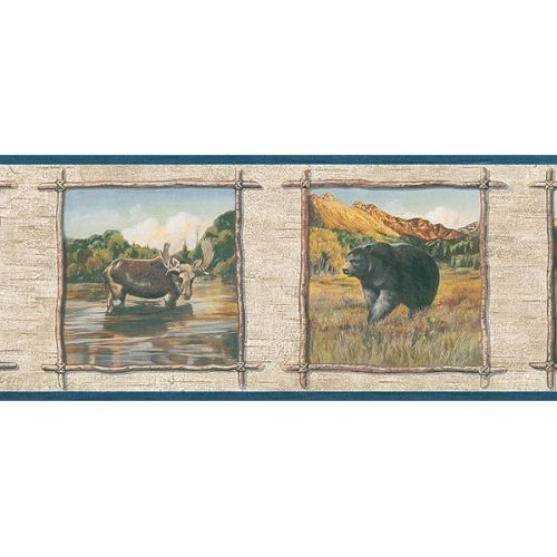 Blonder Wallpaper Border   Wildlife Bear Wolf Moose Rustic Cabin 500x500