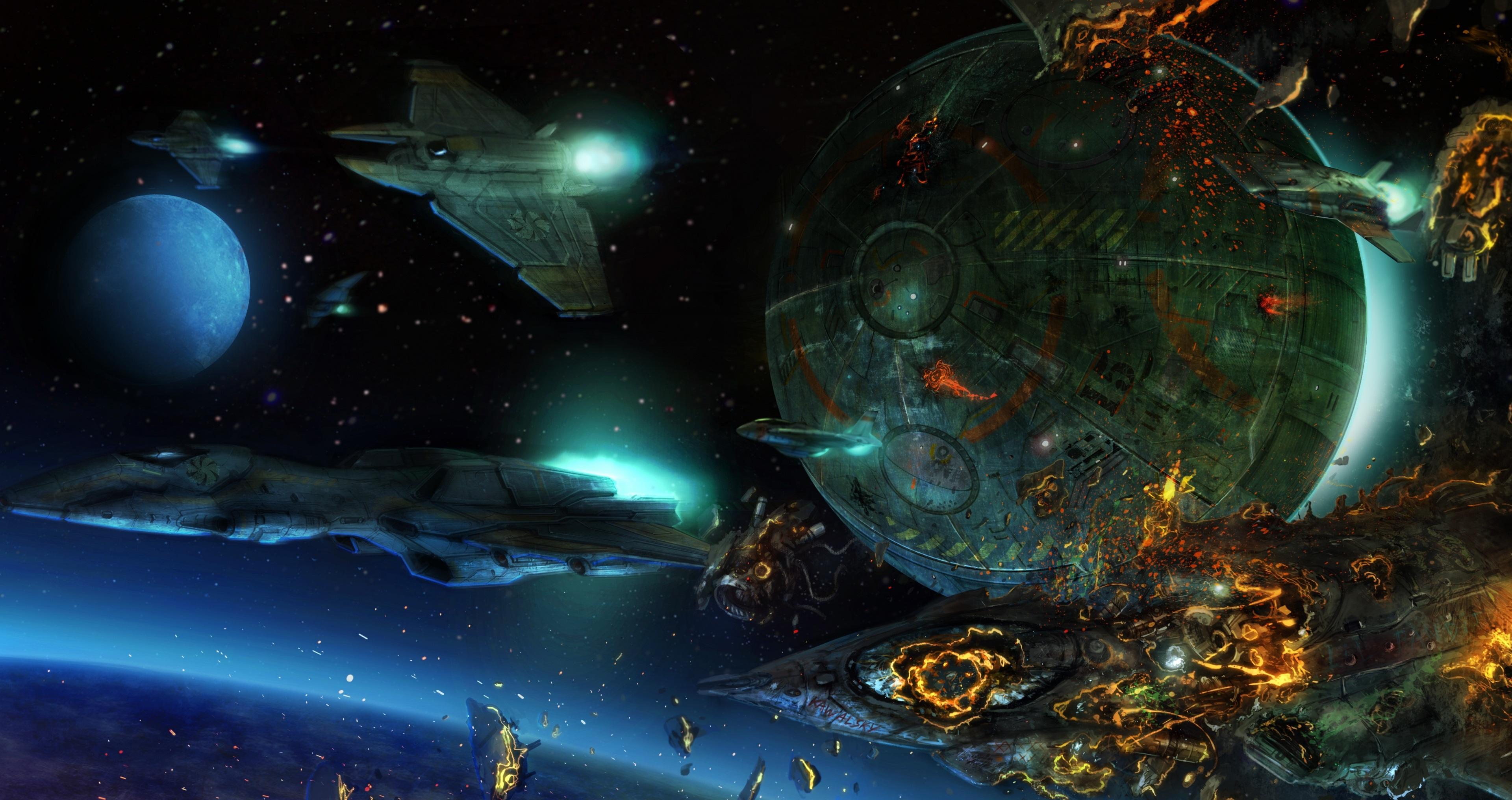 Обои Разрушенная планета, корабль картинки на рабочий стол на тему Космос - скачать  № 3552460  скачать