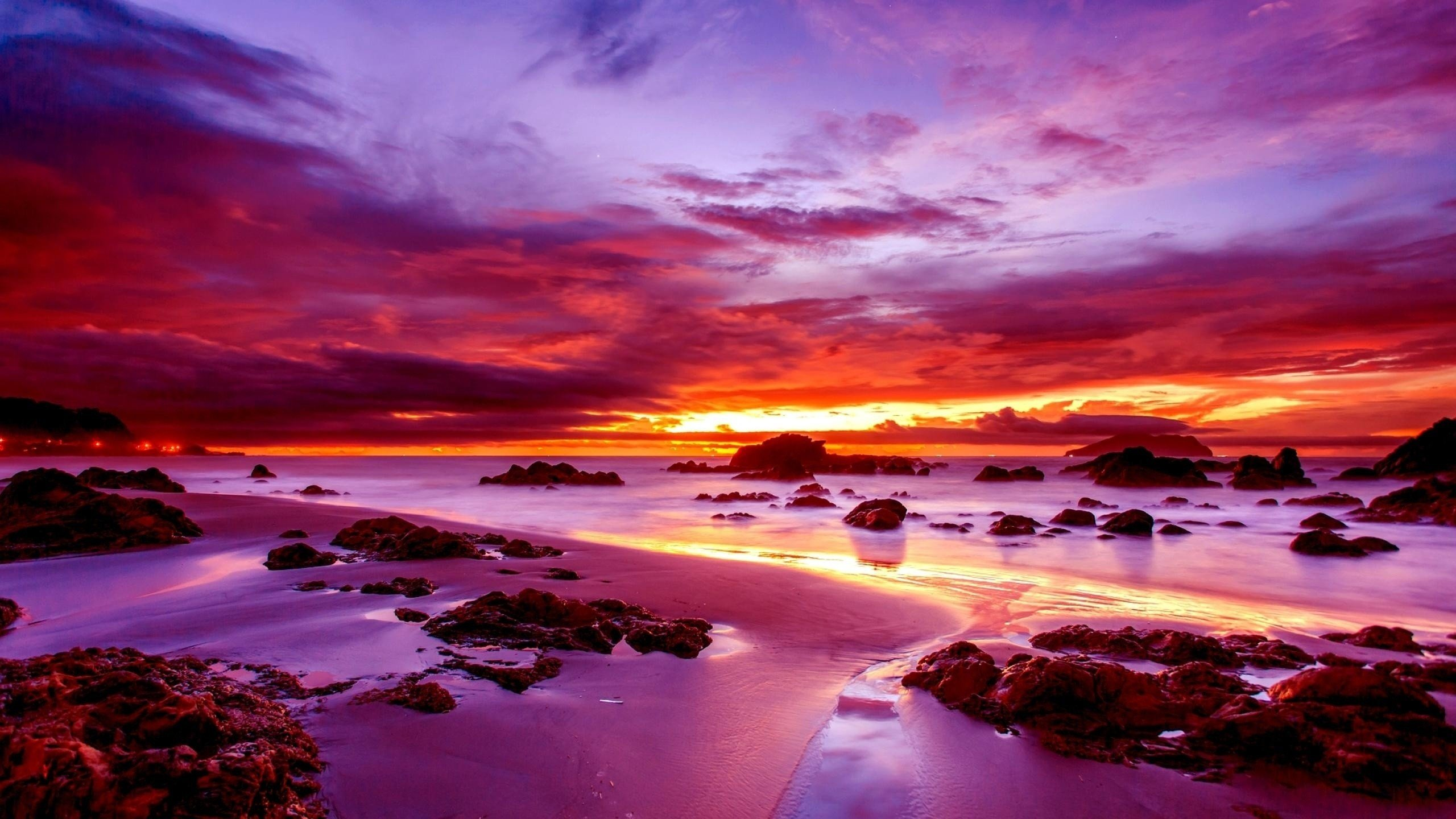 Wallpaper Sky Sunset Water Purple Ocean Nature PicsFabcom 2560x1440
