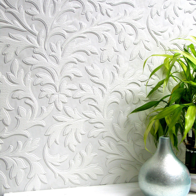 High Leaf Paintable Textured Vinyl Wallpaper   Traditional   Wallpaper 640x640