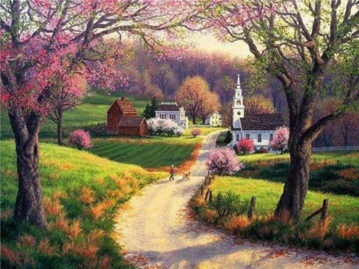 is a beautifully serene country scene resplendent with spring blooms 720x540