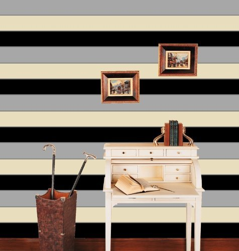 Ii Black Cream And Grey Striped Wallpaper 6164 from Direct Wallpapers 476x500