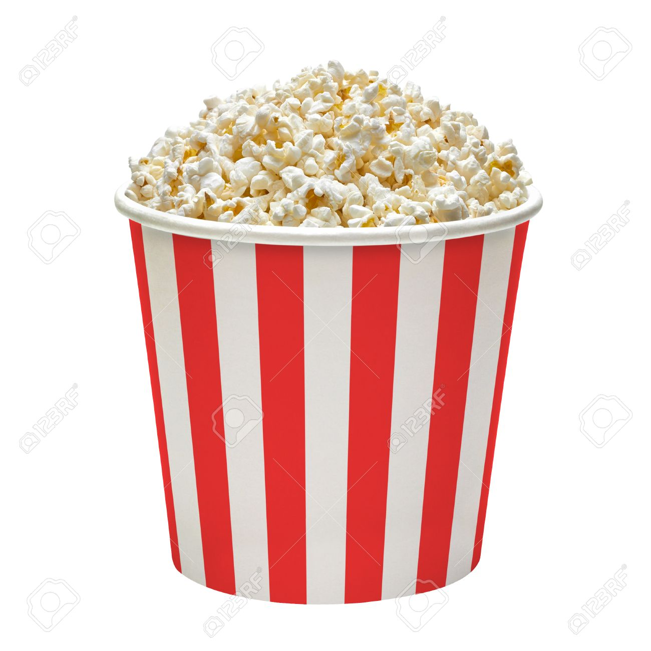 In Striped Popcorn Bucket On A White Background Stock Photo 1300x1300