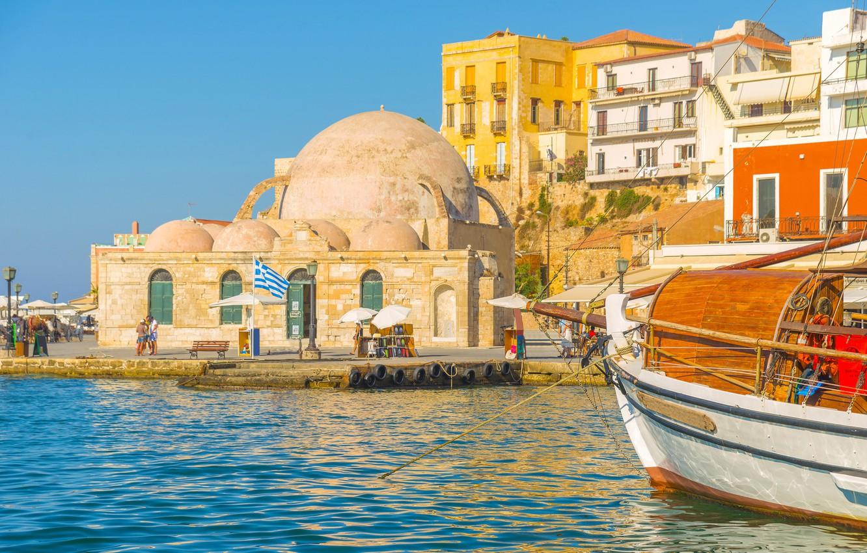 Wallpaper sea the sky the sun shore home yacht Greece pier 1332x850