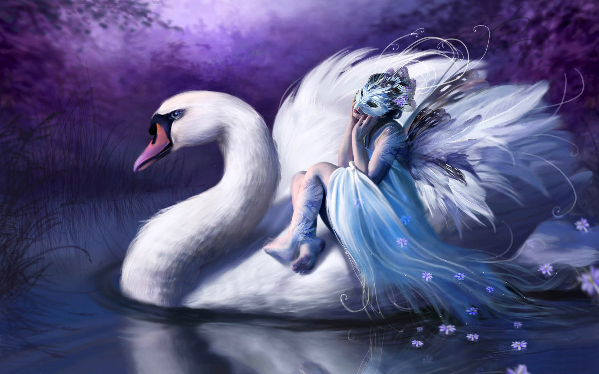 Woman riding swan wallpapers Woman riding swan stock photos 1920x1200