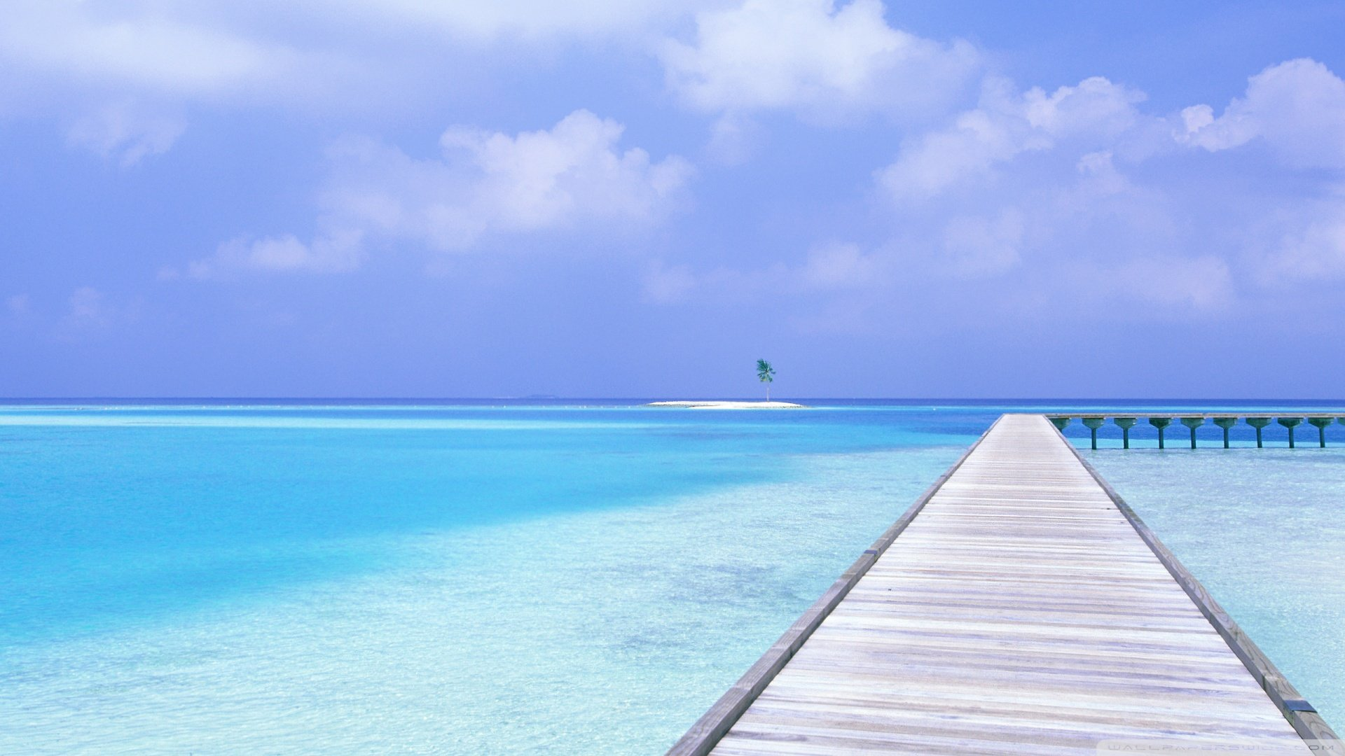 Download Footbridge Over Blue Ocean Wallpaper 1920x1080 1920x1080