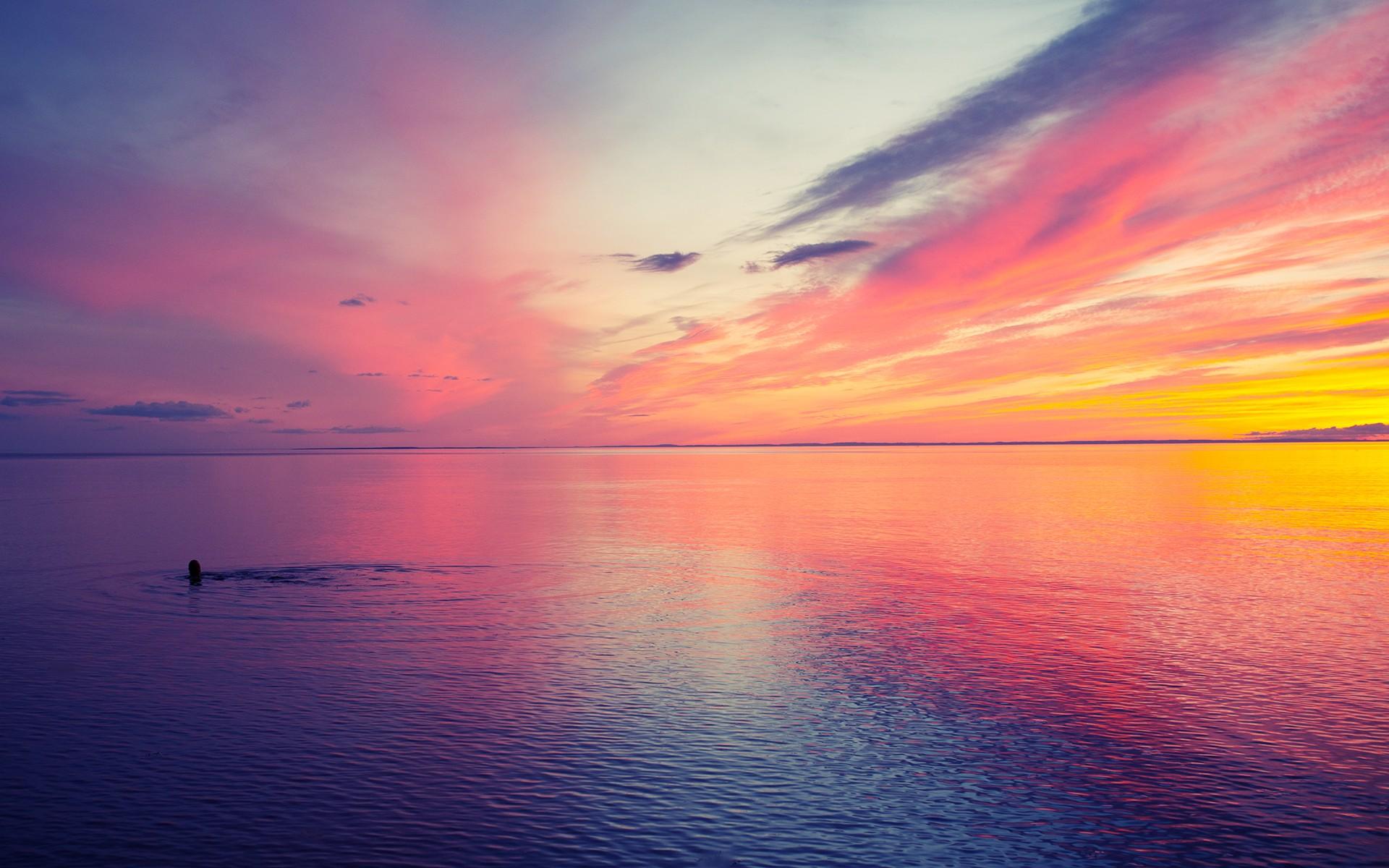 розовый закат, море, горы  № 3110153 без смс