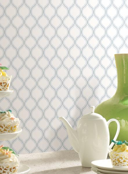 Ogee Trellis Wallpaper in Blue and White design by York Wallcoverings 441x600