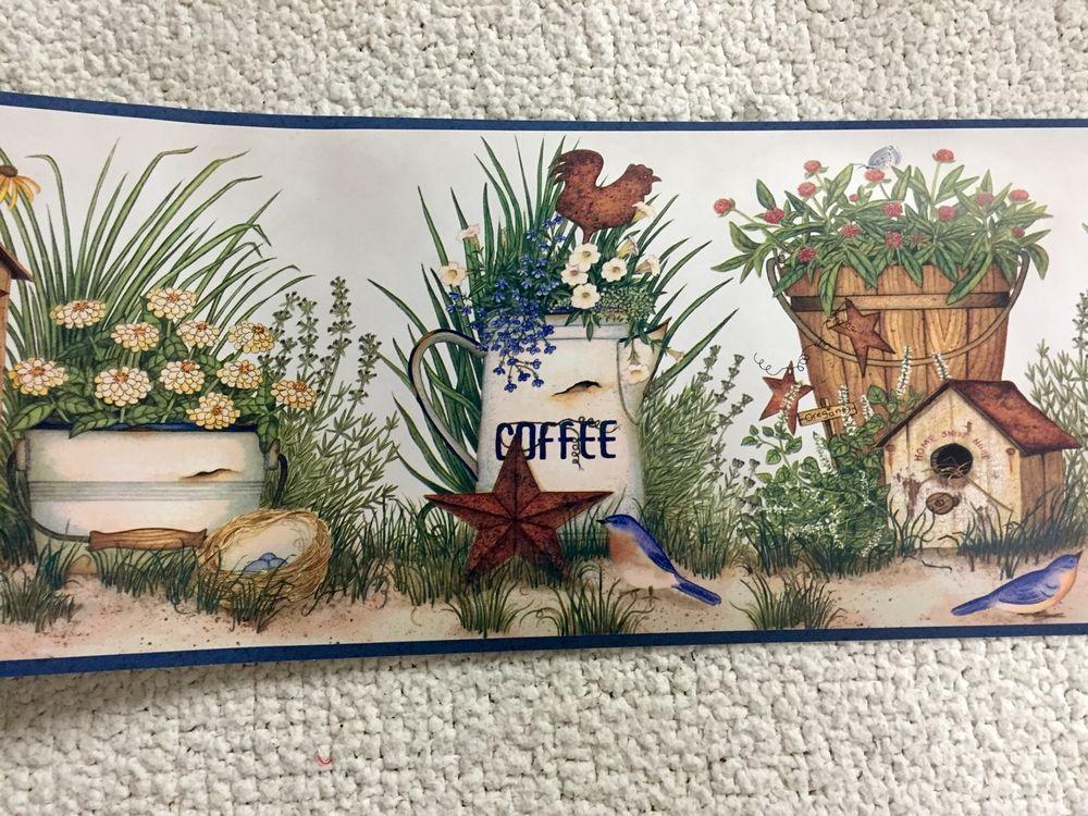 Kitchen Rooster Coffee Rusty Tin Stars Birdhouse Wallpaper Border 1000x750