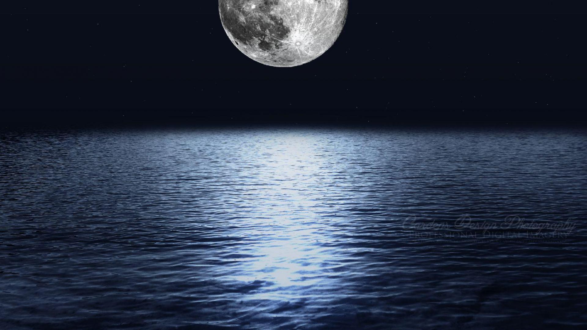 Moon Over Ocean Wallpaper - WallpaperSafari