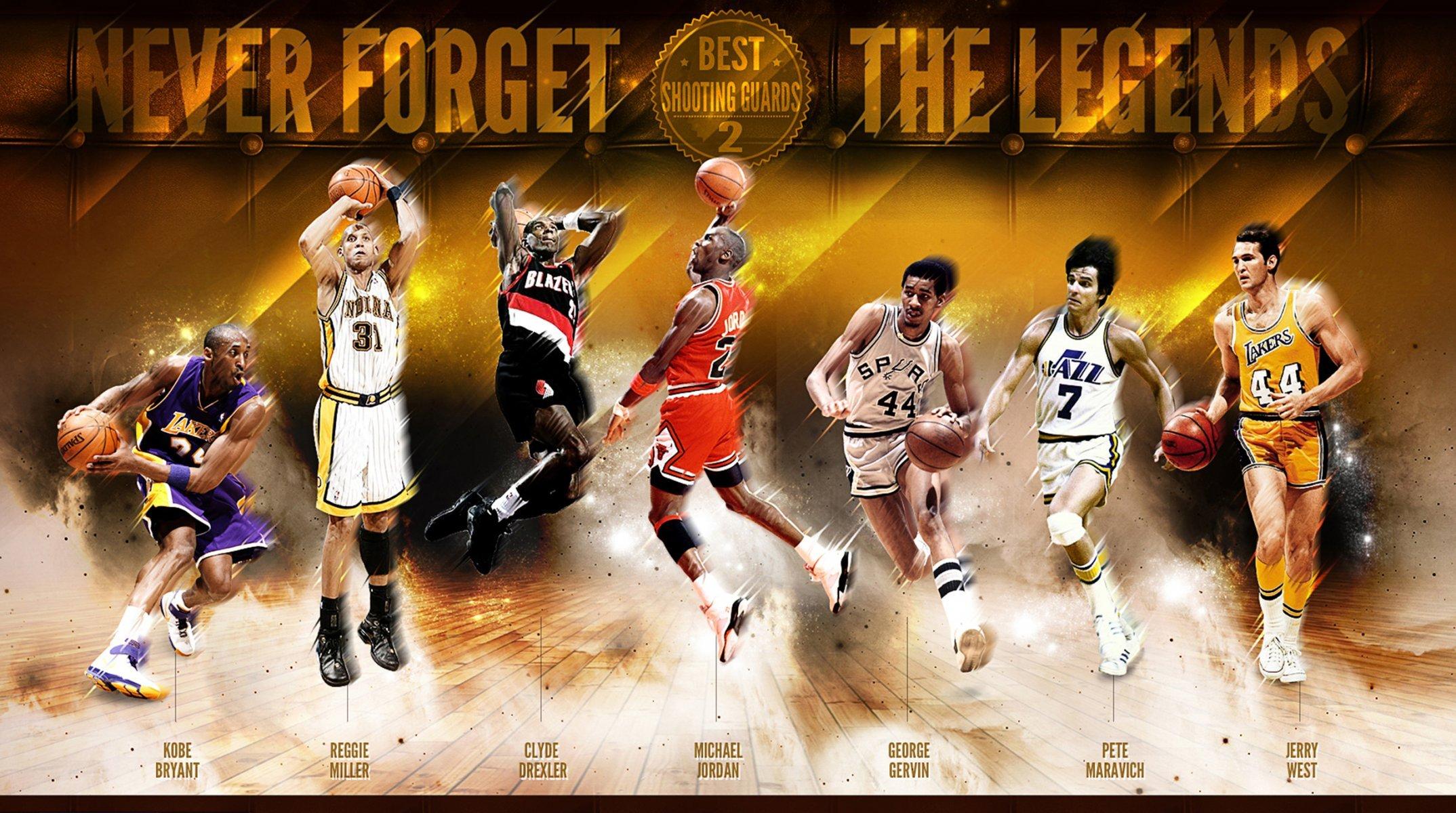 basketball sports nba legends kobe bryant reggie miller clyde 2148x1200
