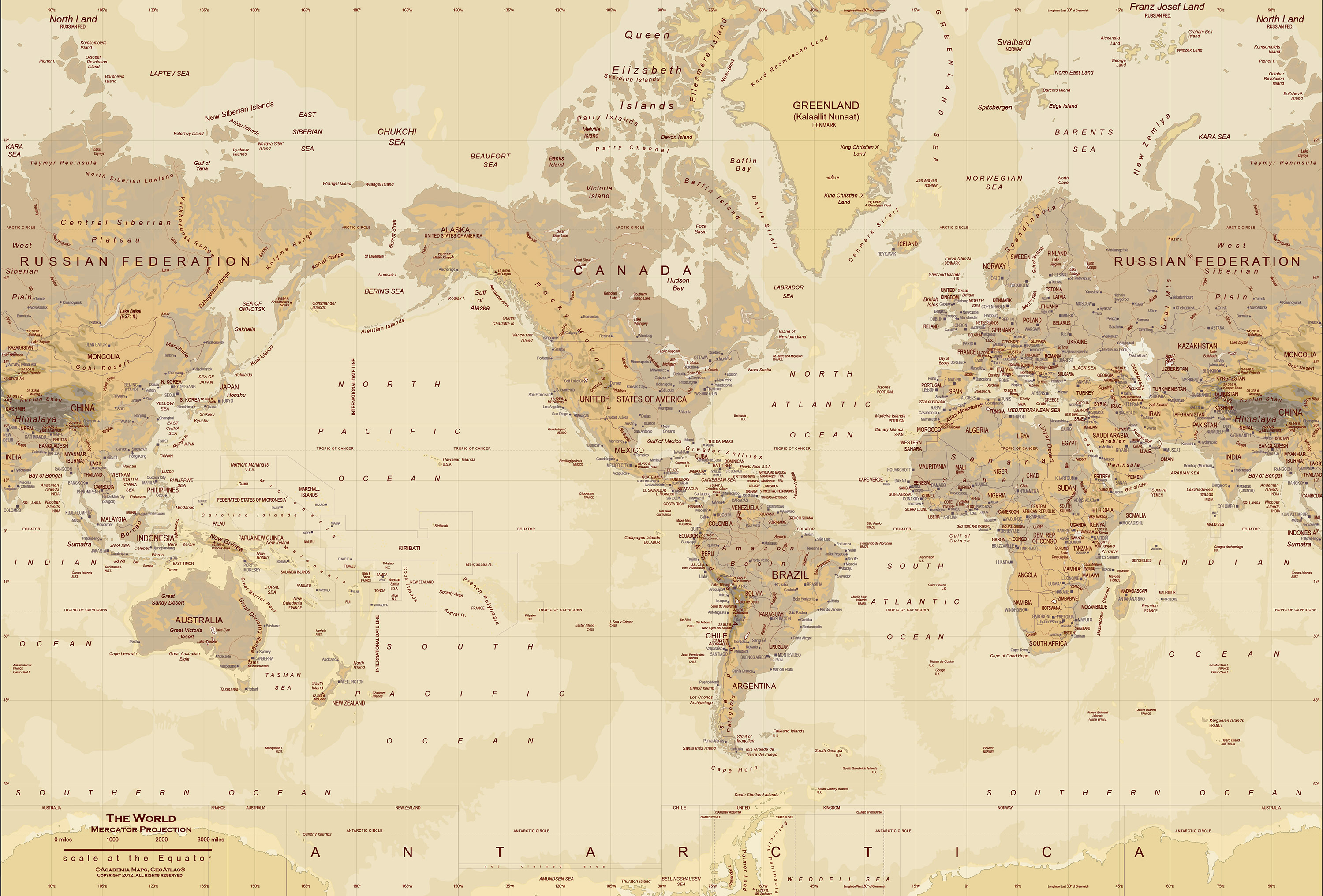 Tan World Map Wall Mural   up to 166 x 112 3000x2032