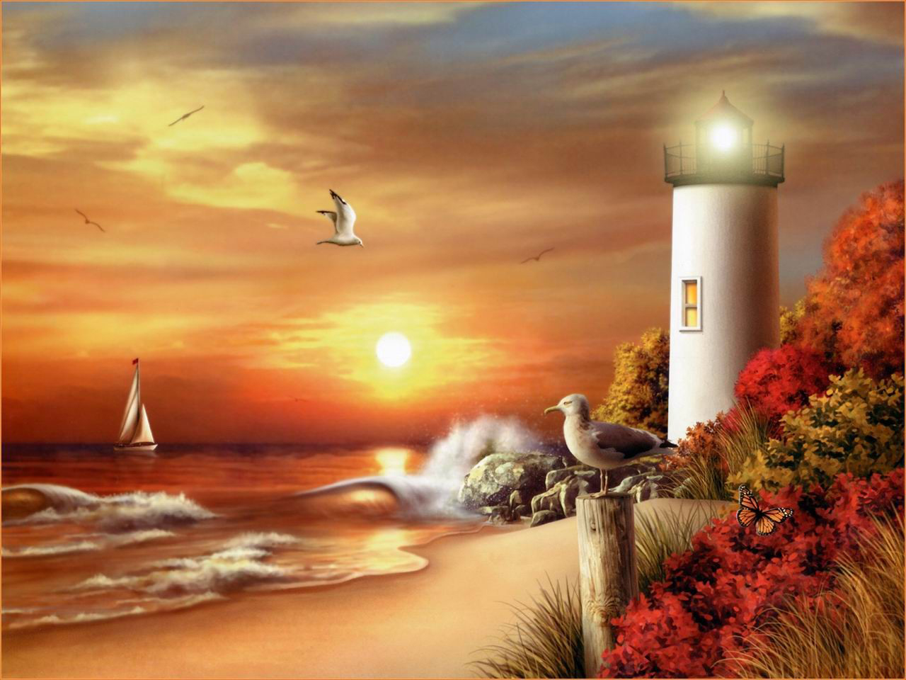 Painting Beautiful Lighthouses Pictures Lighthouses Wallpaper 1280x960