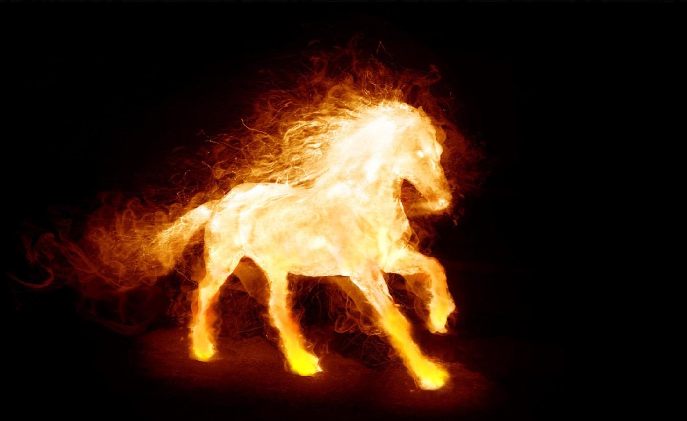 Alien Form Fire Horse Fire Skull Fantastic Space Star Fire Element 1344x824