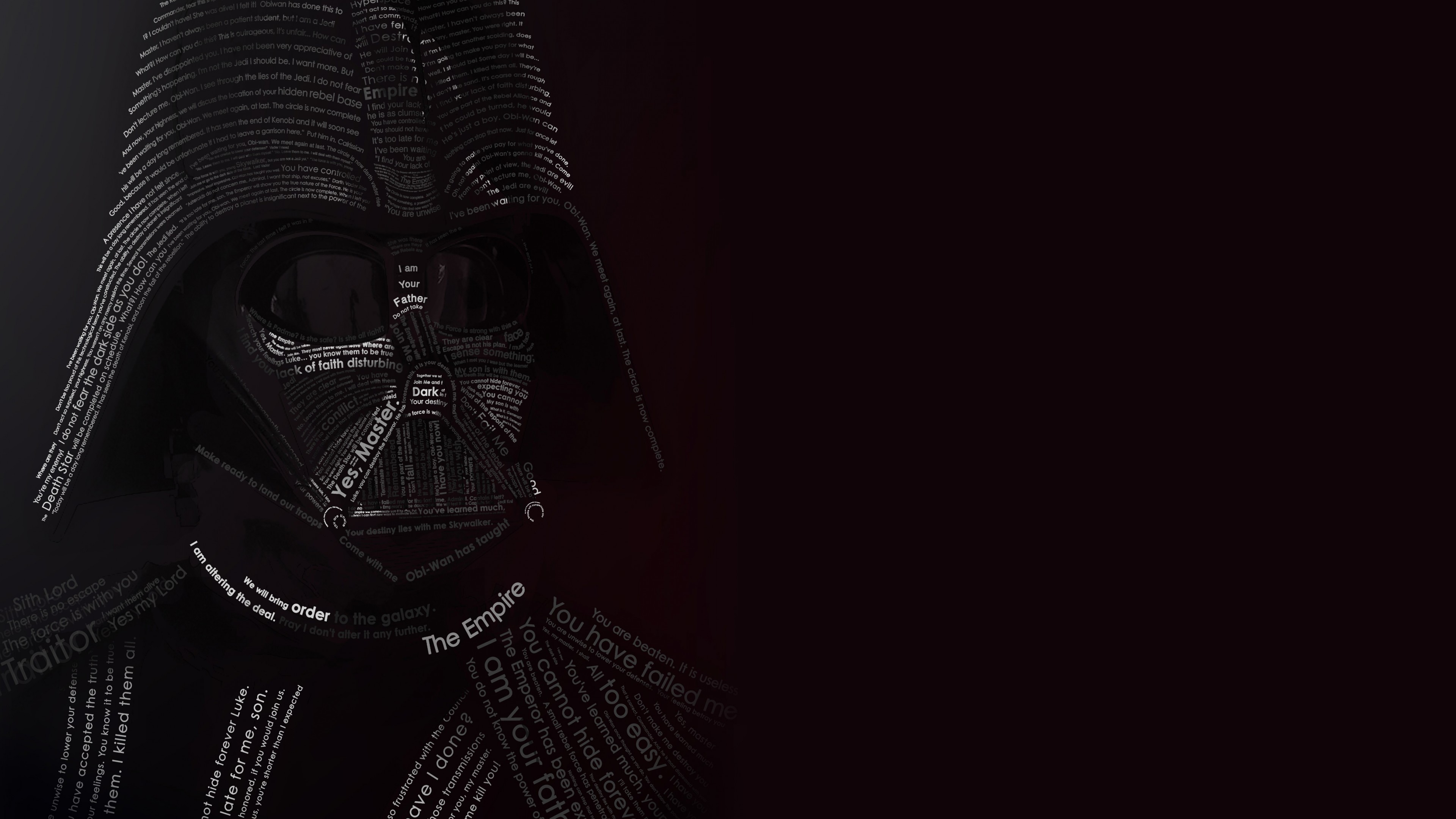 Darth Vader Typographic Portrait Wallpaper for Desktop 4K 3840 x 2160 3840x2160