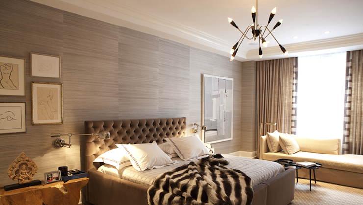 Furry Wallpaper For Bedrooms Gray grasscloth wallpaper 740x418