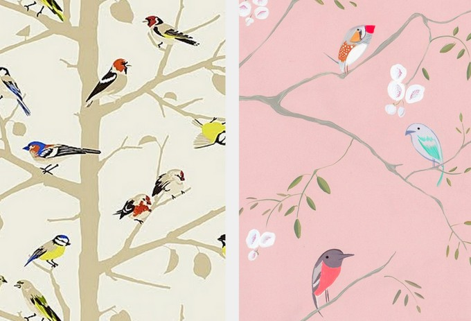 Summer wallpaper from Schumacher Bird wallpaper via Jolly Bureau 680x463