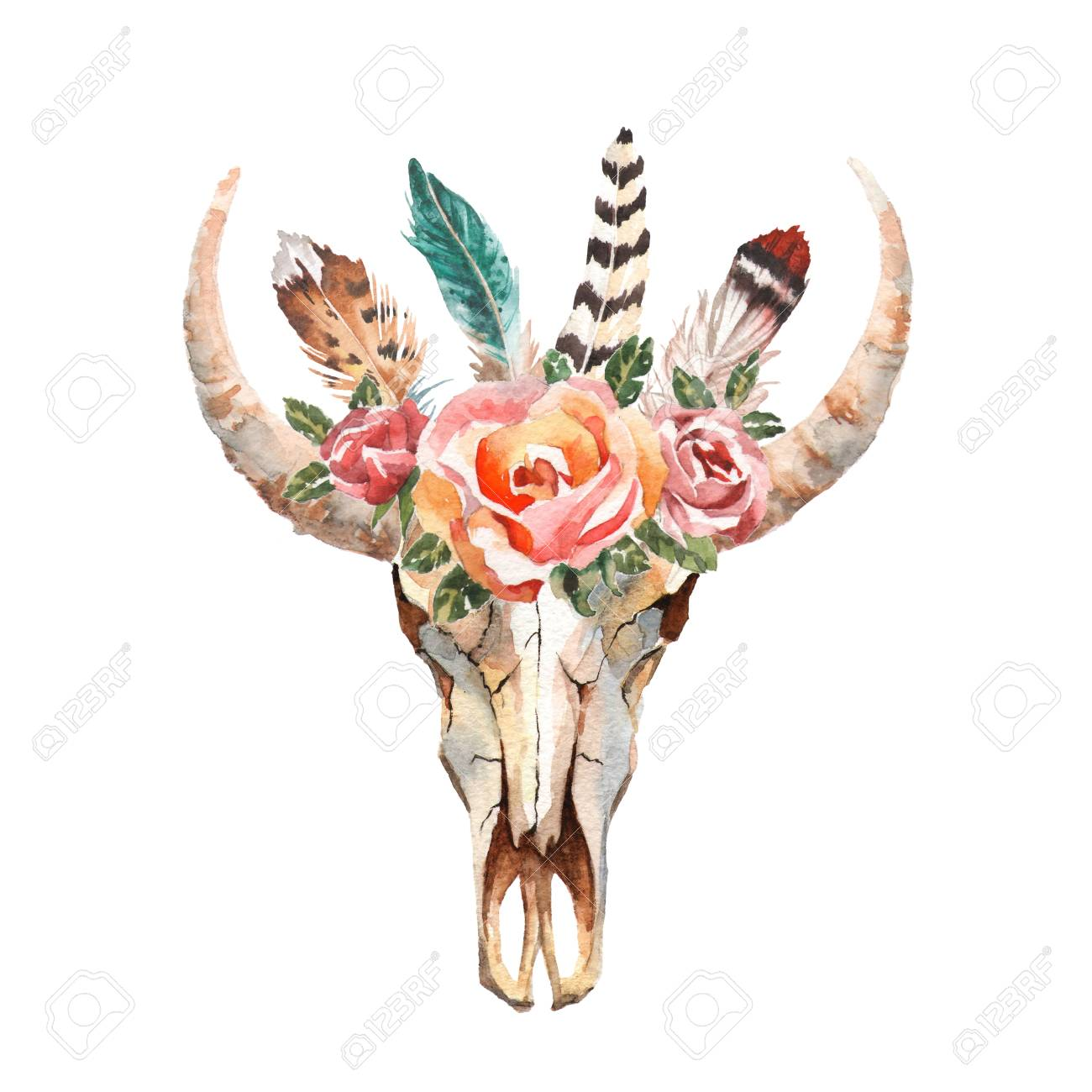 Watercolor Isolated Bulls Head With Flowers And Feathers On 1300x1300