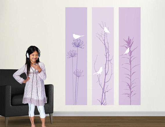Birdsong Purple Center Peel and Stick Panel   Wall Sticker Outlet 570x441