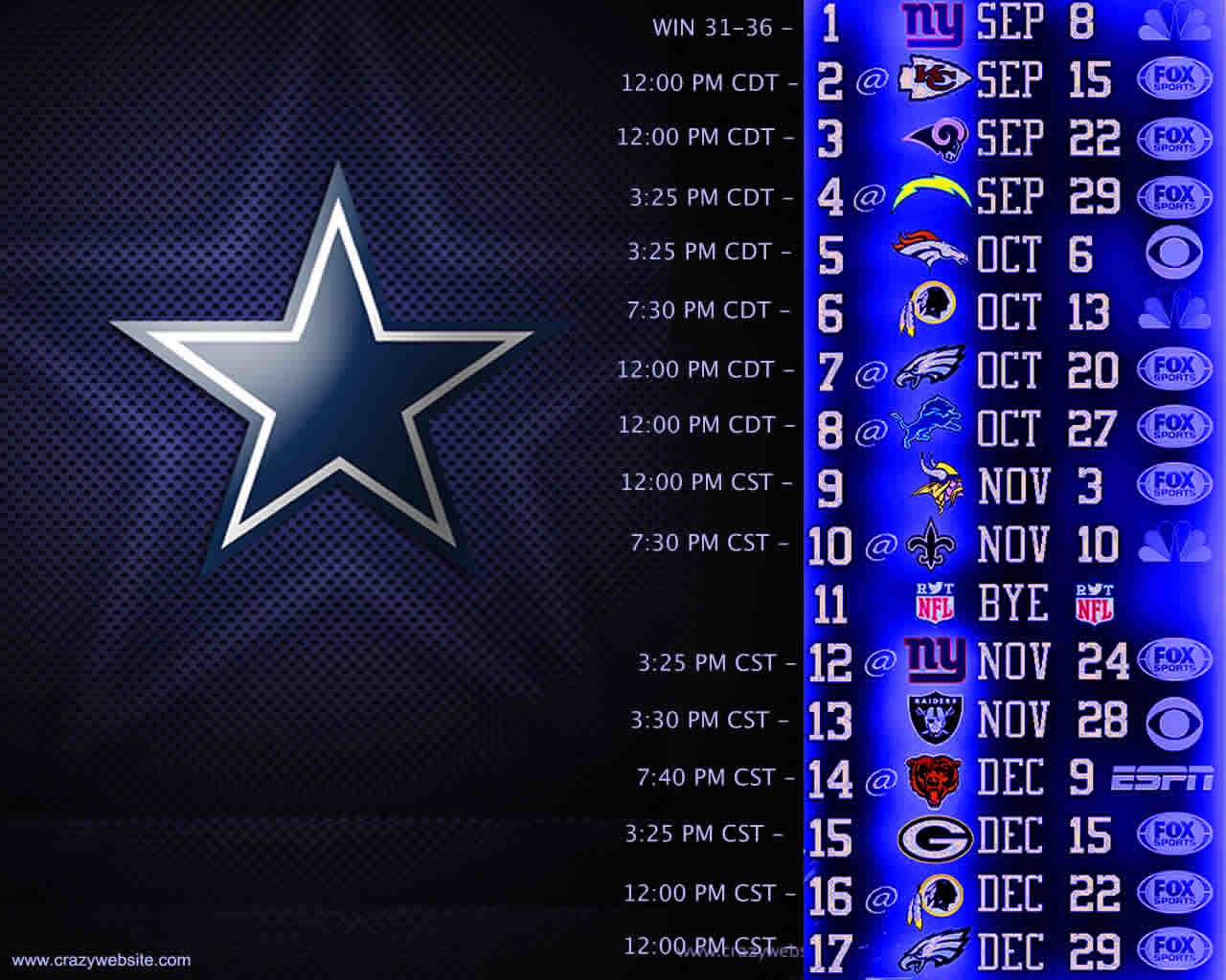 your favorite NFC East division NFL football team the Dallas Cowboys 1280x1024