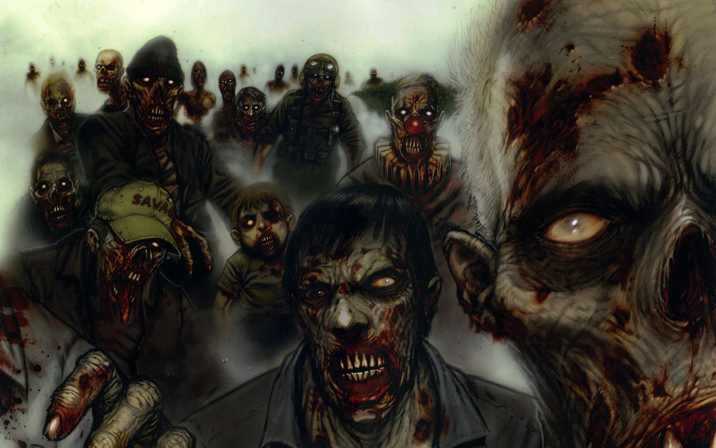 the Zombie Clown Horde Wallpaper Zombie Clown Horde iPhone Wallpaper 1440x900
