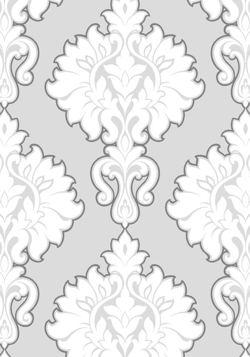 grey and white damask wallpaper wallpapersafari. Black Bedroom Furniture Sets. Home Design Ideas