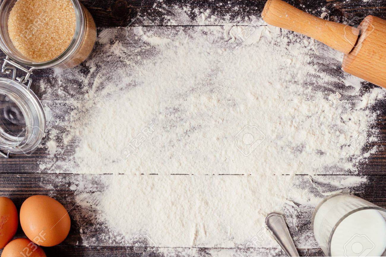 Baking Background Baking Ingredients On The Wooden Table Stock 1300x866