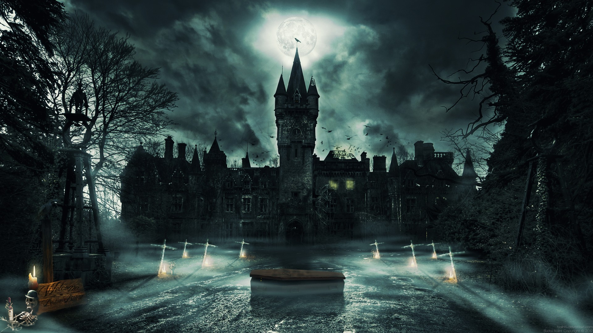 castle wallpaper cloud candles raven budai welcome ghost coffin 1920x1080