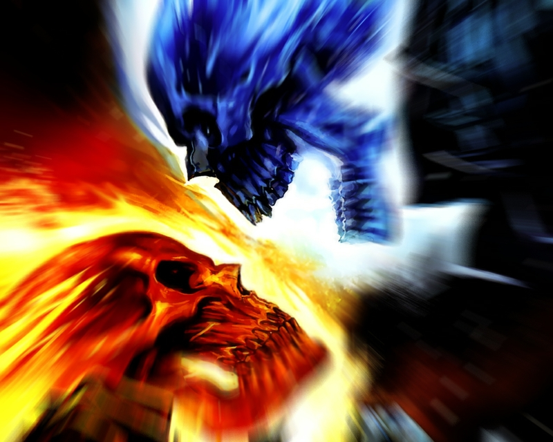 Blue Fire Skull Red vs blue skull vsliked the 800x640