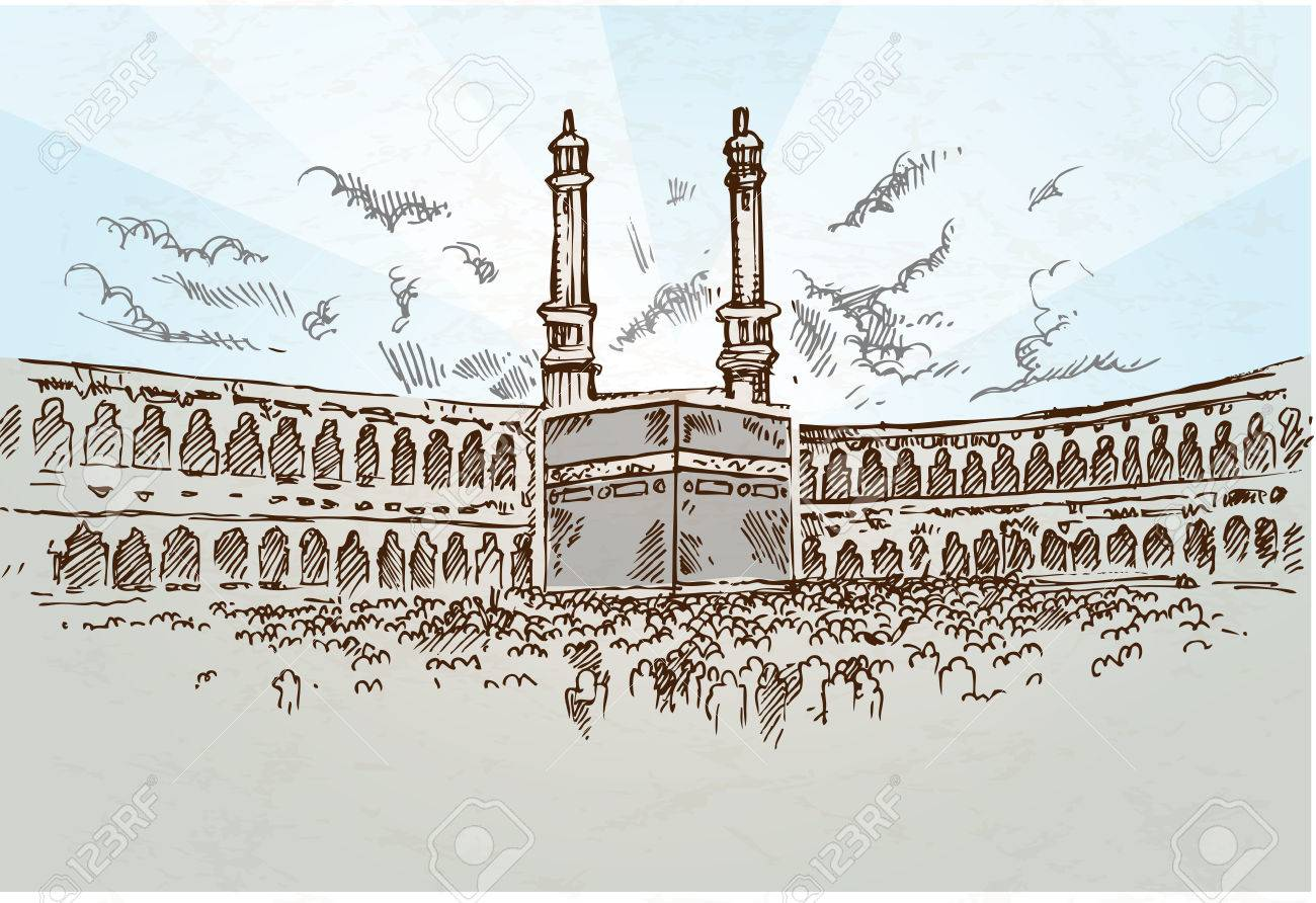 Mecca Background Drawing Hand Drawn Royalty Cliparts Vectors 1300x892