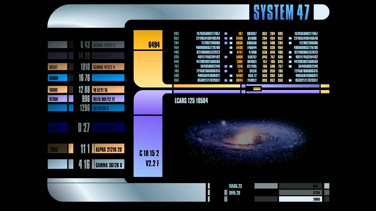 Star Trek The Next Generation LCARS display Screensaver 1280x720