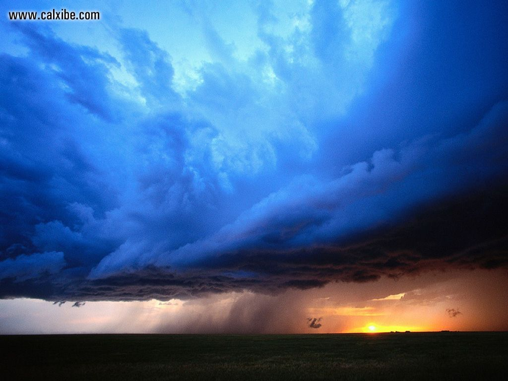 Rain Storm At Sunset Nature 1024x768