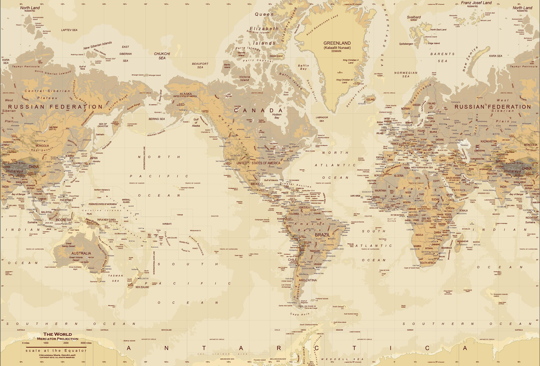 Tan World Map Map Wall Mural 3000x2032