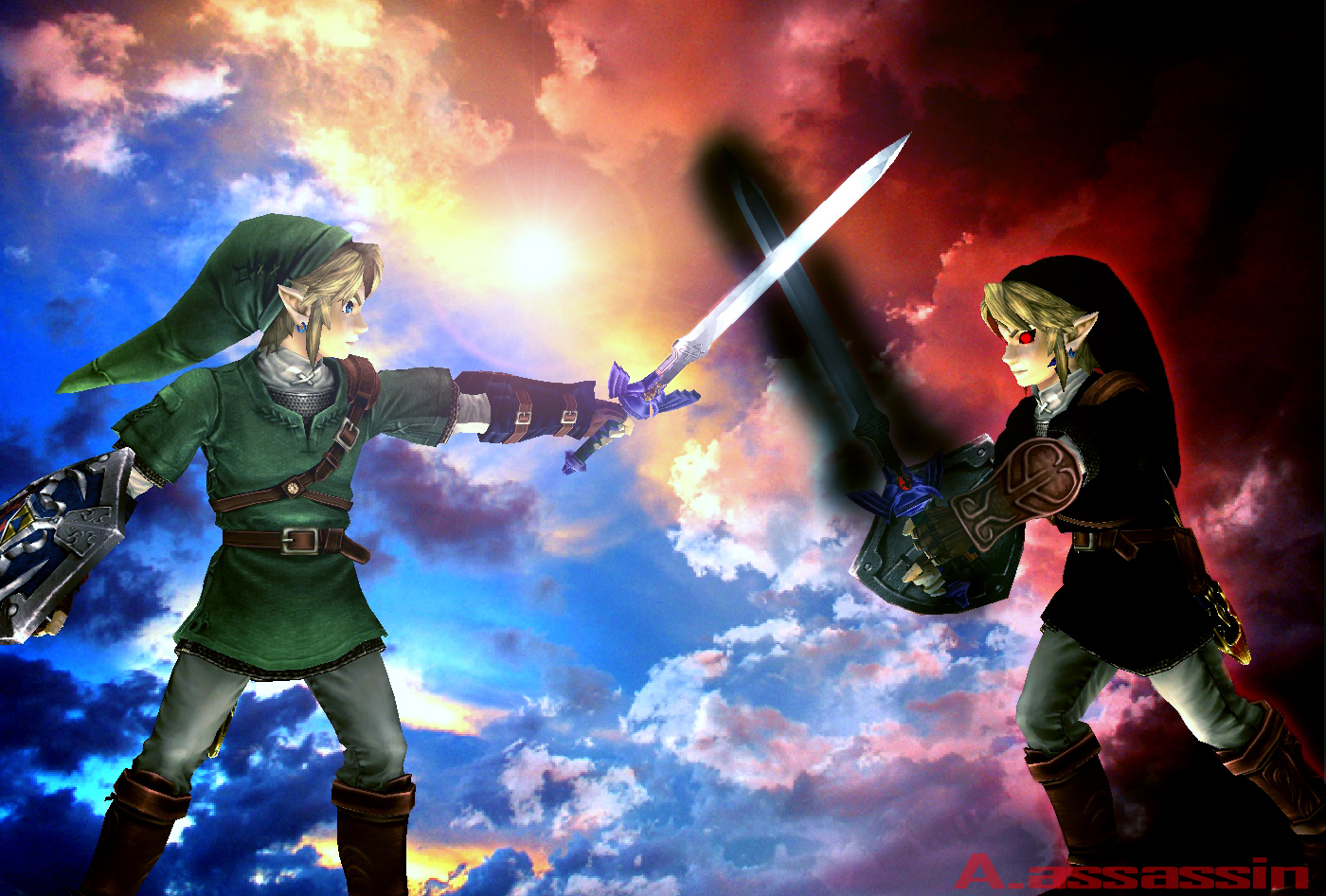 Link vs Dark Link by angelnn 1400x946