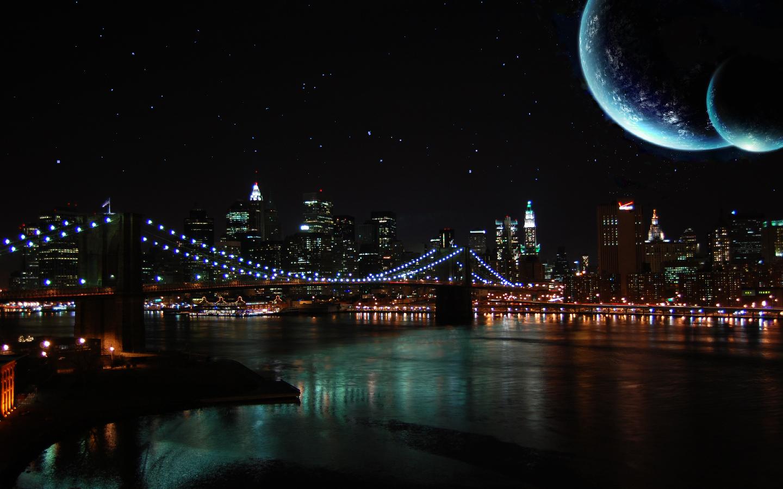 луна над городом  № 1456855  скачать