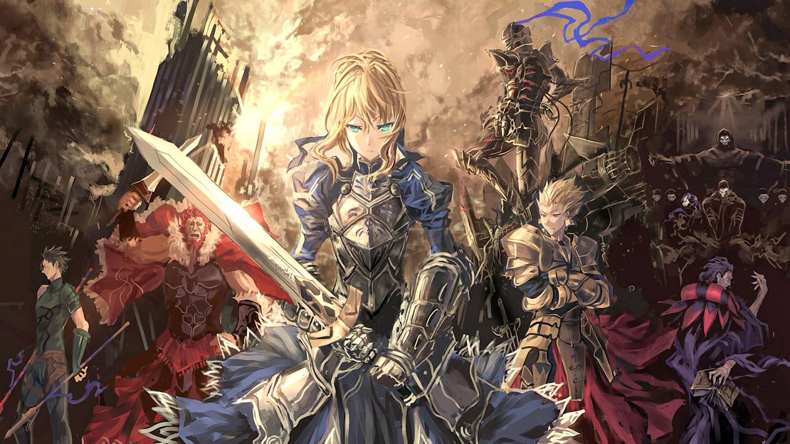 fate stay night wallpaper anime saber gilgames armor knight sword 1600x900